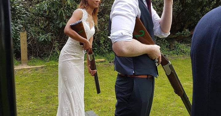 laser clay shooting at the wedding